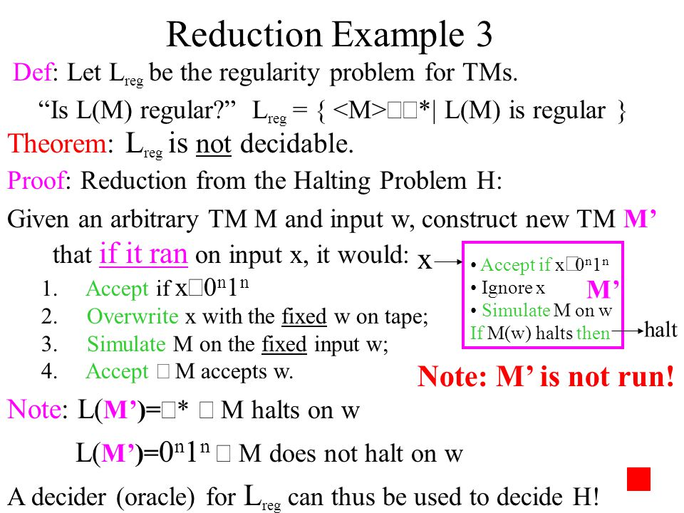 Reduction Example 3 x Note: M' is not run!
