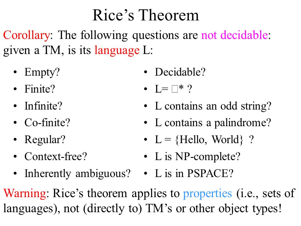 Rice's Theorem Corollary: The following questions are not decidable: