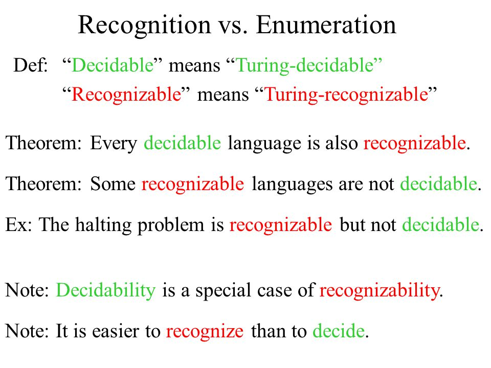 Recognition vs. Enumeration