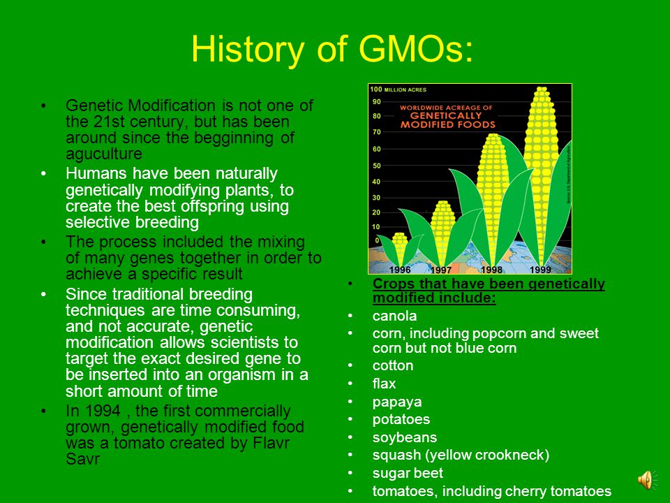 History of GMOs: Genetic Modification is not one of the 21st century, but has been around since the begginning of aguculture.