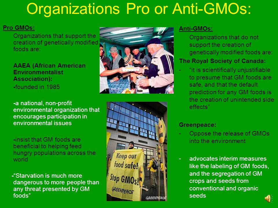 Organizations Pro or Anti-GMOs: