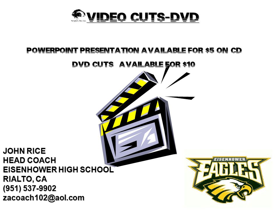 VIDEO CUTS-DVD POWERPOINT PRESENTATION AVAILABLE FOR $5 ON CD