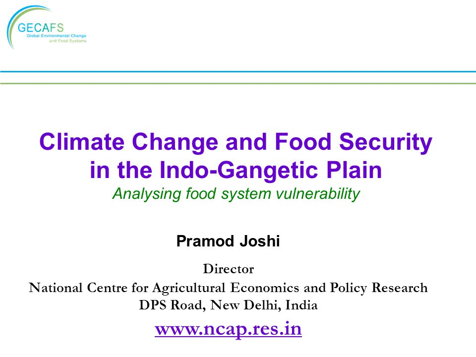 Climate Change and Food Security in the Indo-Gangetic Plain