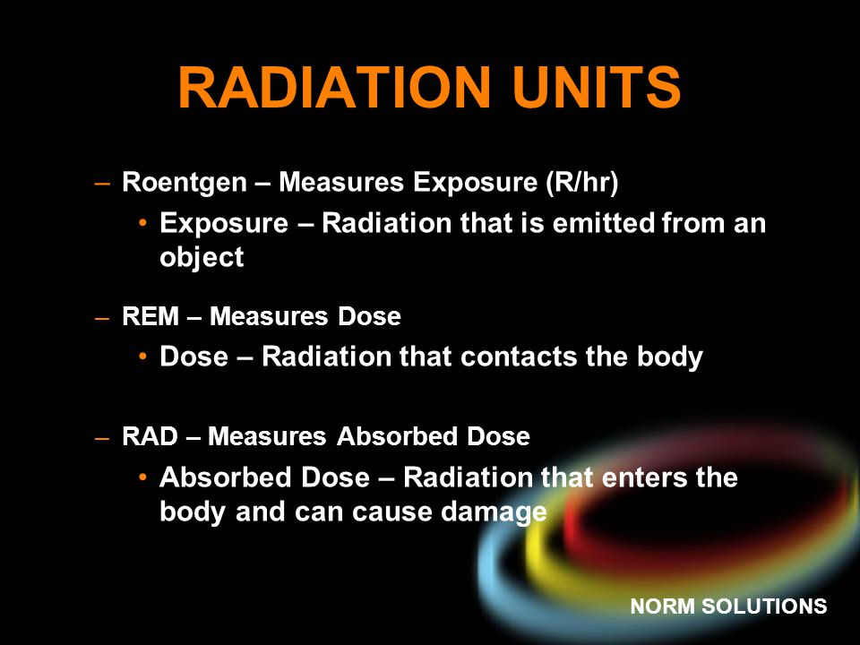 RADIATION UNITS Exposure – Radiation that is emitted from an object