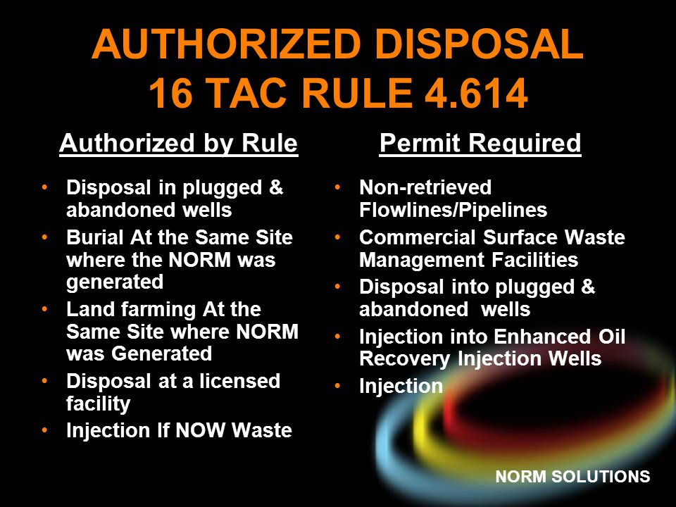 AUTHORIZED DISPOSAL 16 TAC RULE 4.614