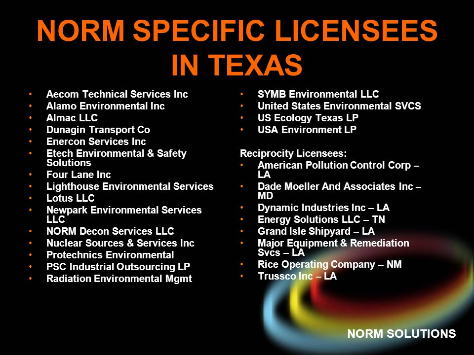 NORM SPECIFIC LICENSEES IN TEXAS