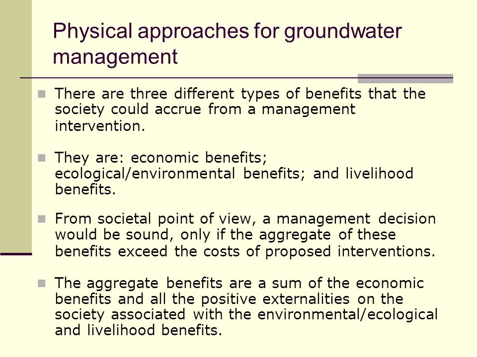 Physical approaches for groundwater management