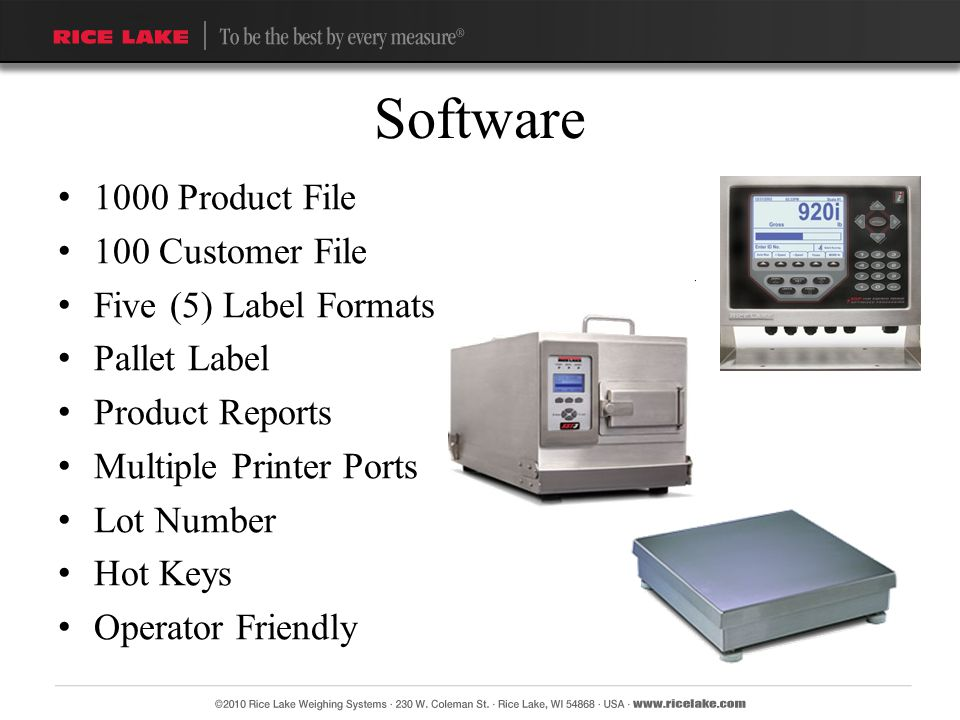 Software 1000 Product File 100 Customer File Five (5) Label Formats