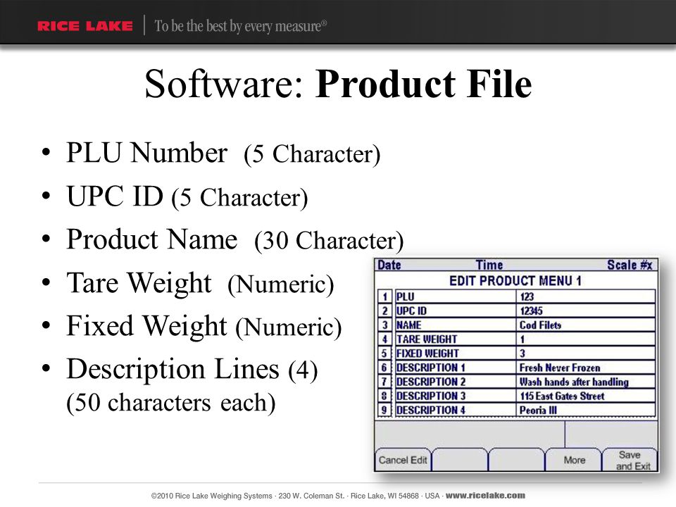Software: Product File