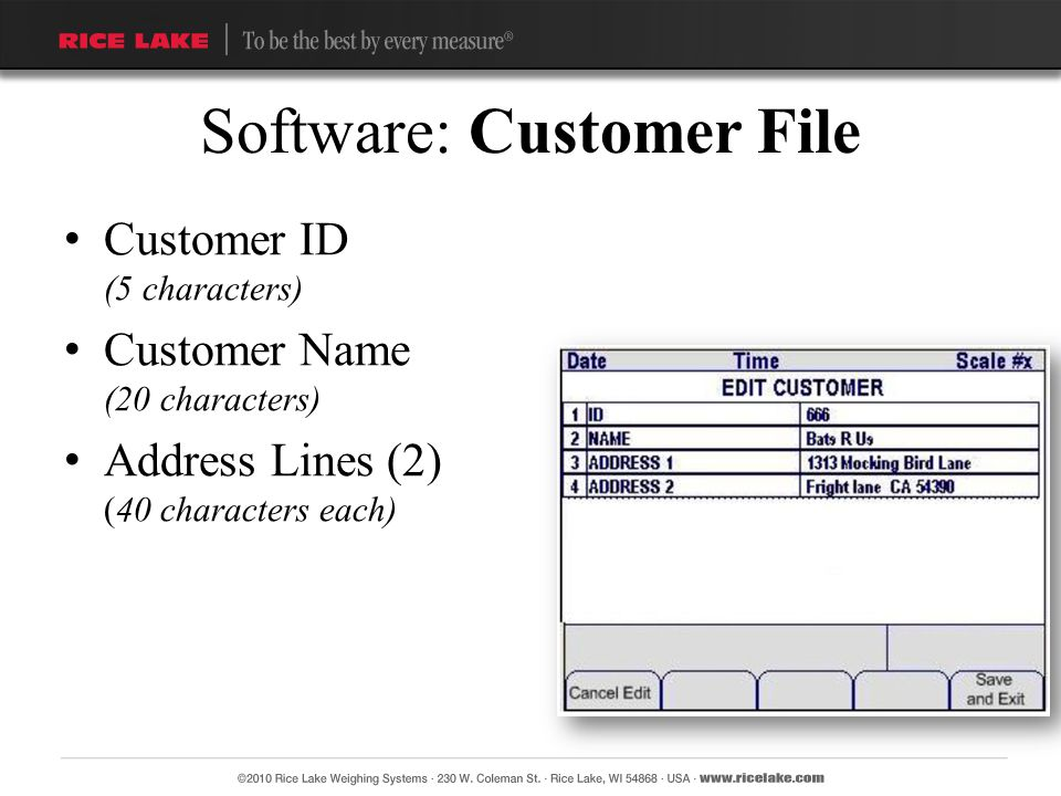 Software: Customer File