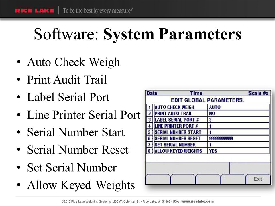 Software: System Parameters