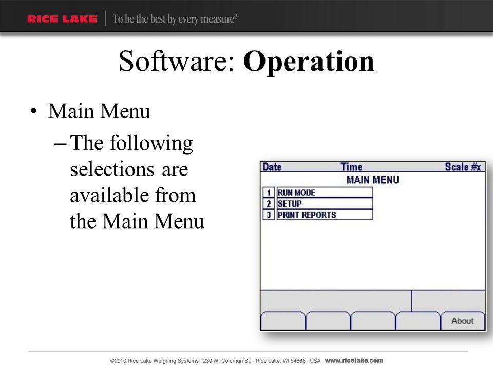 Software: Operation Main Menu