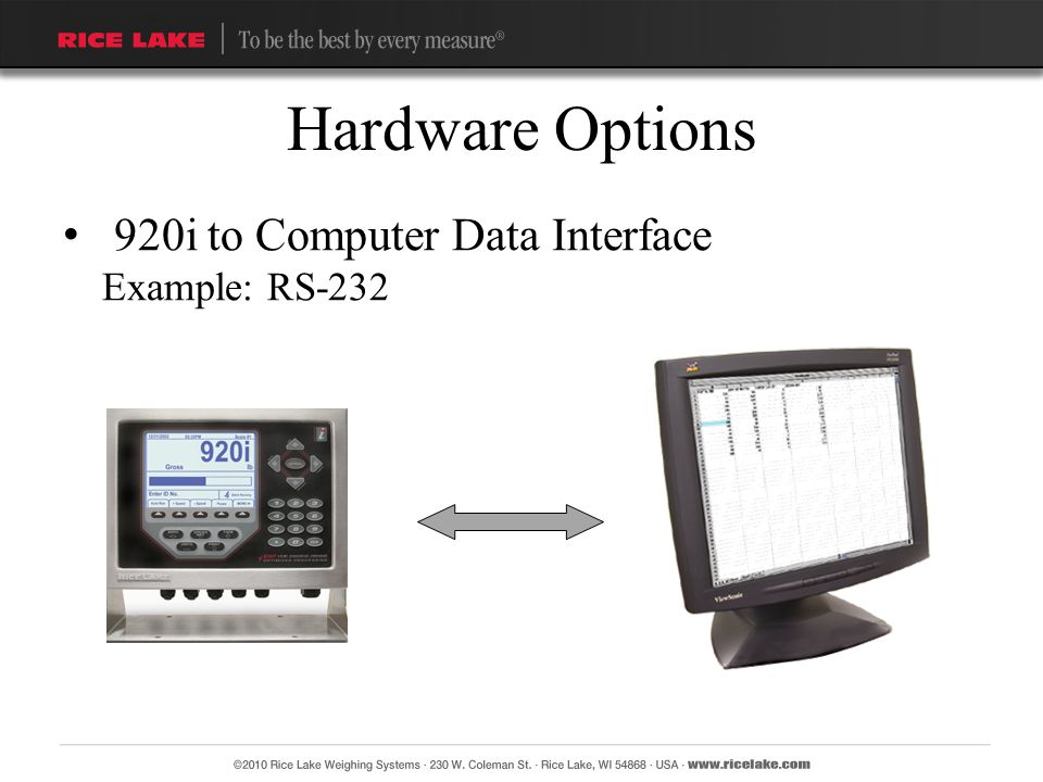 Hardware Options 920i to Computer Data Interface Example: RS-232