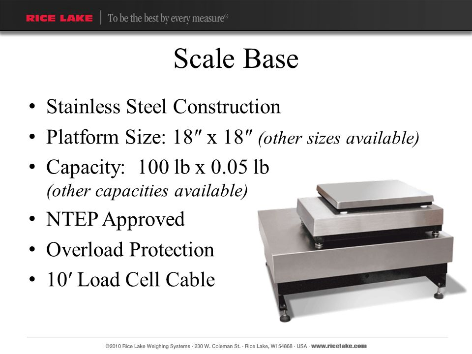 Scale Base Stainless Steel Construction