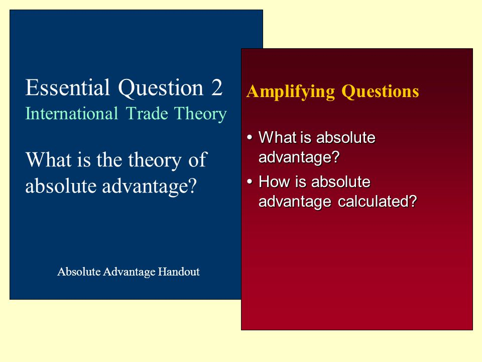 What is absolute advantage How is absolute advantage calculated