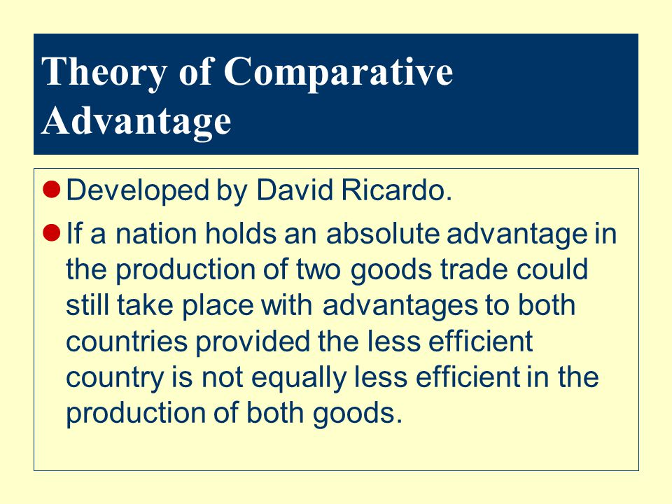 Theory of Comparative Advantage