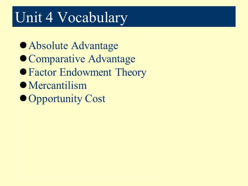 Unit 4 Vocabulary Absolute Advantage Comparative Advantage