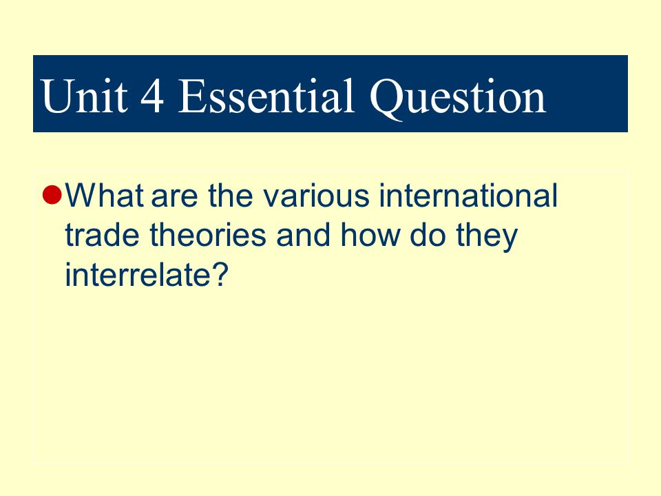 Unit 4 Essential Question