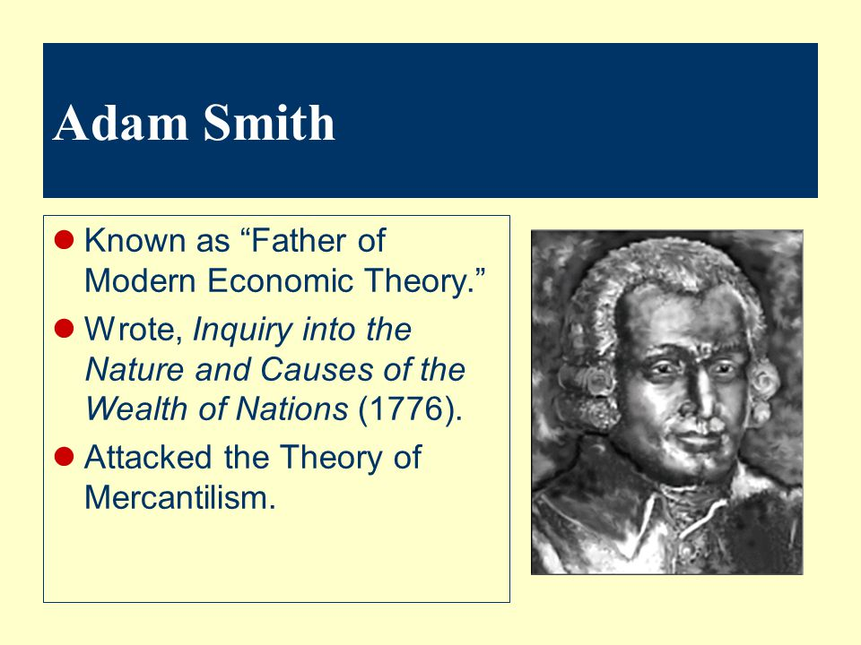 Adam Smith Known as Father of Modern Economic Theory.