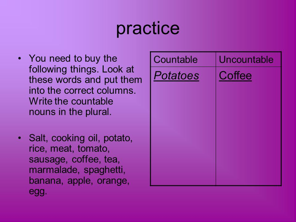 practice Potatoes Coffee