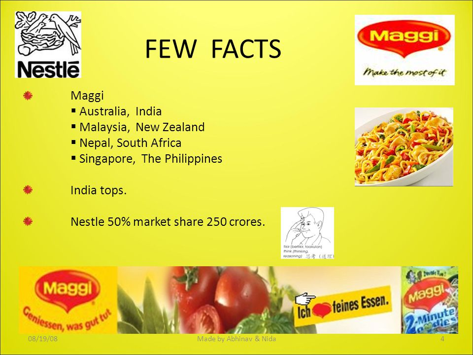 FEW FACTS Maggi Australia, India Malaysia, New Zealand