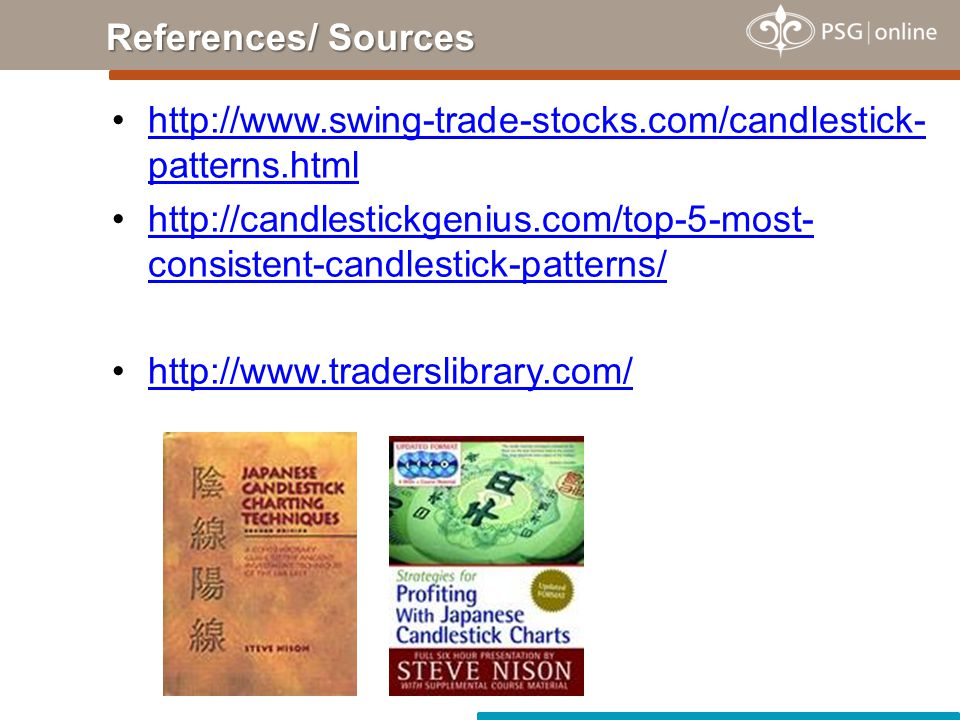 References/ Sources http://www.swing-trade-stocks.com/candlestick-patterns.html.