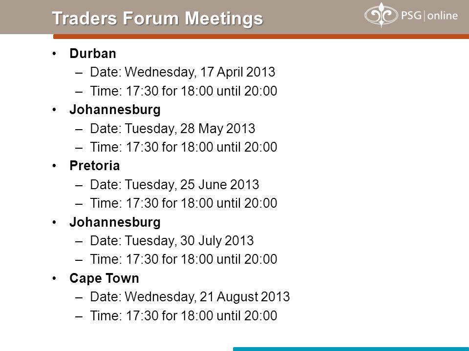 Traders Forum Meetings