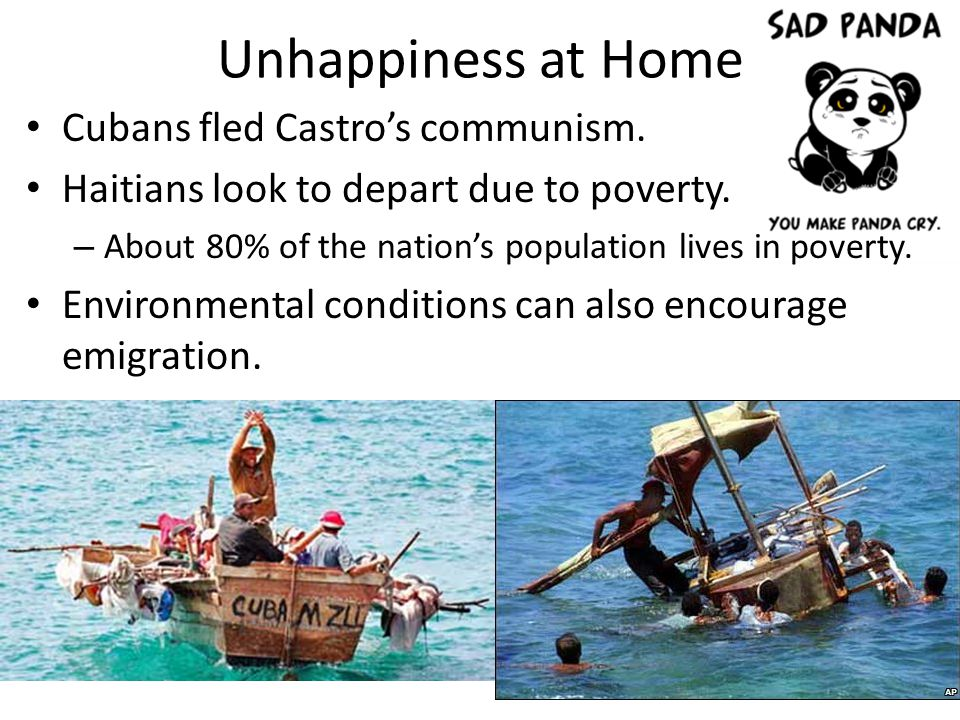 Unhappiness at Home Cubans fled Castro's communism.