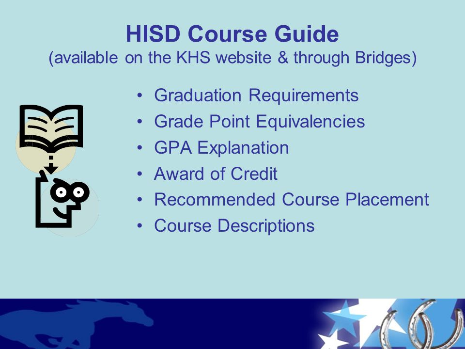 HISD Course Guide (available on the KHS website & through Bridges)