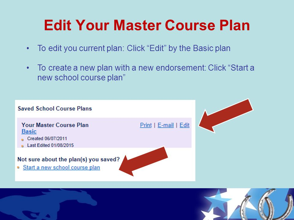 Edit Your Master Course Plan