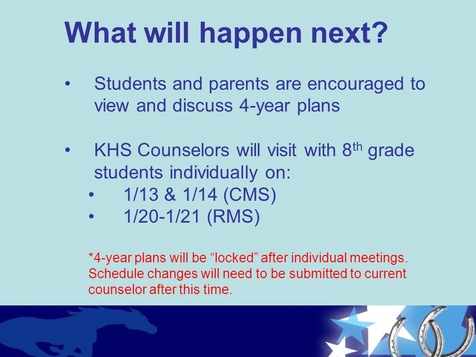 What will happen next Students and parents are encouraged to view and discuss 4-year plans.