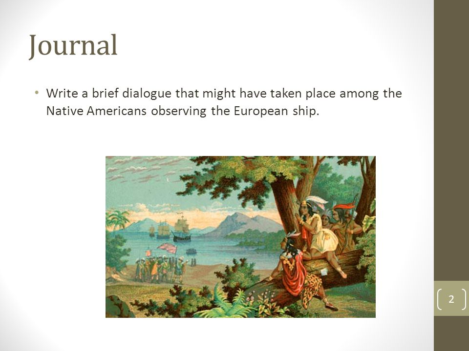 Journal Write a brief dialogue that might have taken place among the Native Americans observing the European ship.