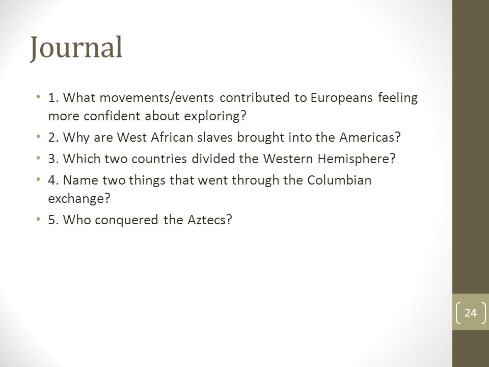 Journal 1. What movements/events contributed to Europeans feeling more confident about exploring