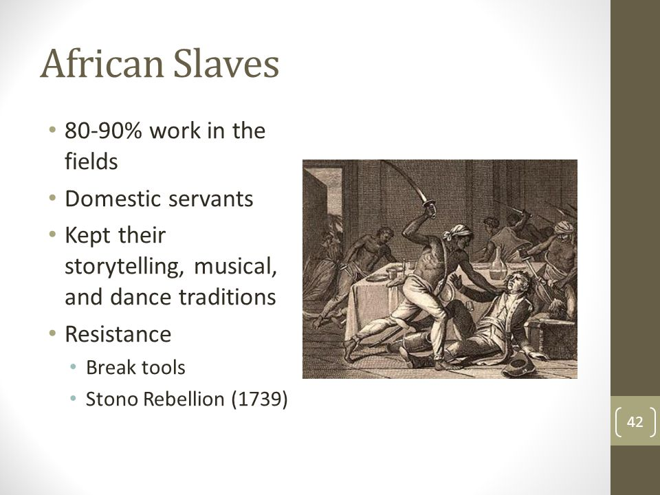 African Slaves 80-90% work in the fields Domestic servants