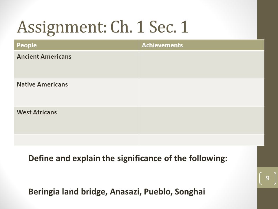 Assignment: Ch. 1 Sec. 1 People. Achievements. Ancient Americans. Native Americans. West Africans.