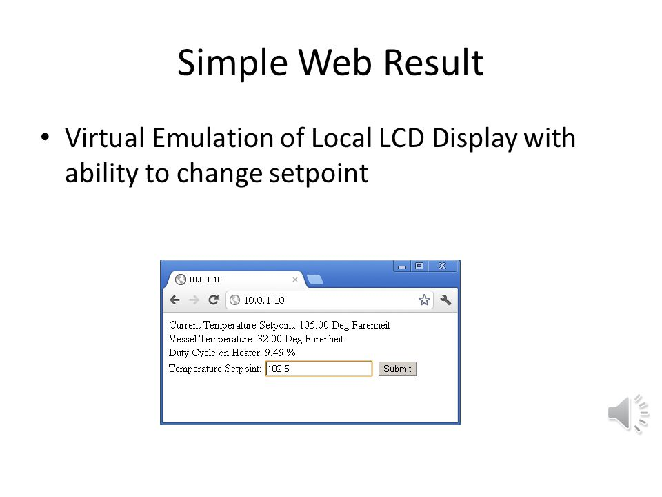 Simple Web Result Virtual Emulation of Local LCD Display with ability to change setpoint