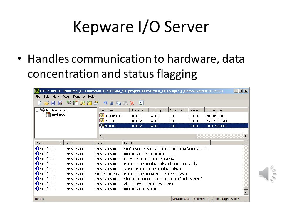 Kepware I/O Server Handles communication to hardware, data concentration and status flagging