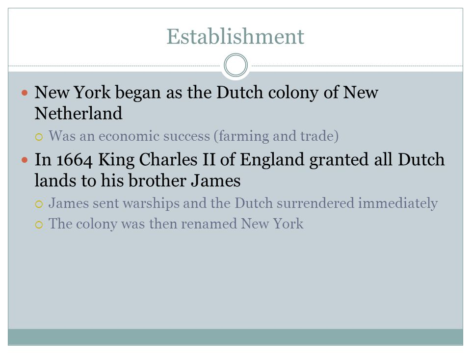 Establishment New York began as the Dutch colony of New Netherland