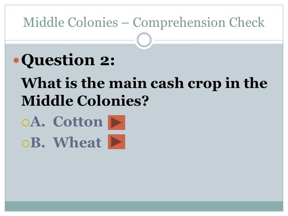 Middle Colonies – Comprehension Check
