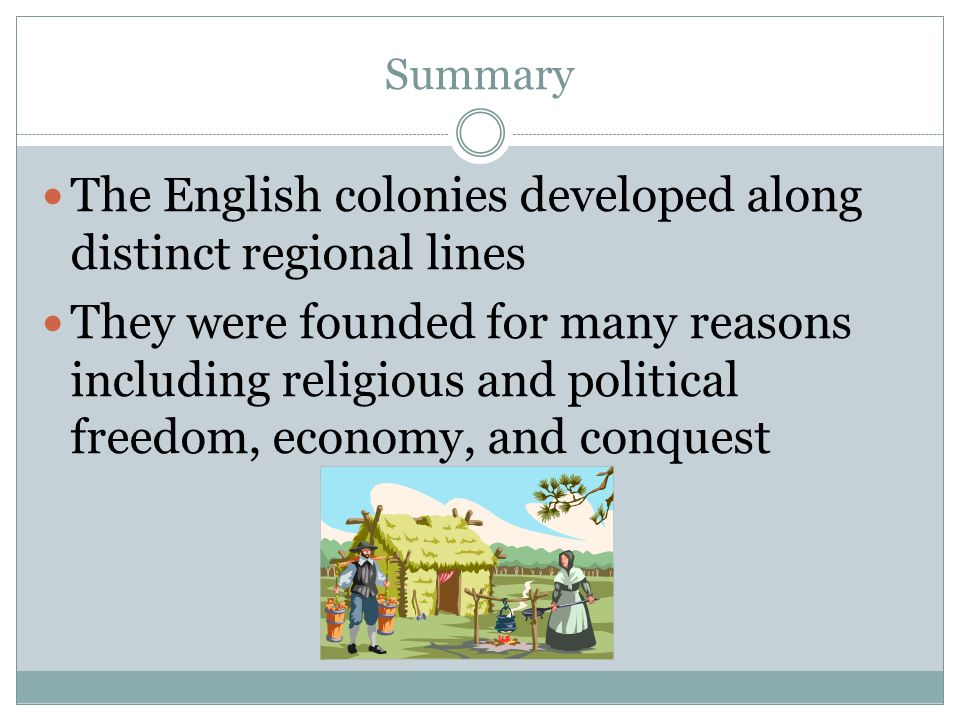 The English colonies developed along distinct regional lines