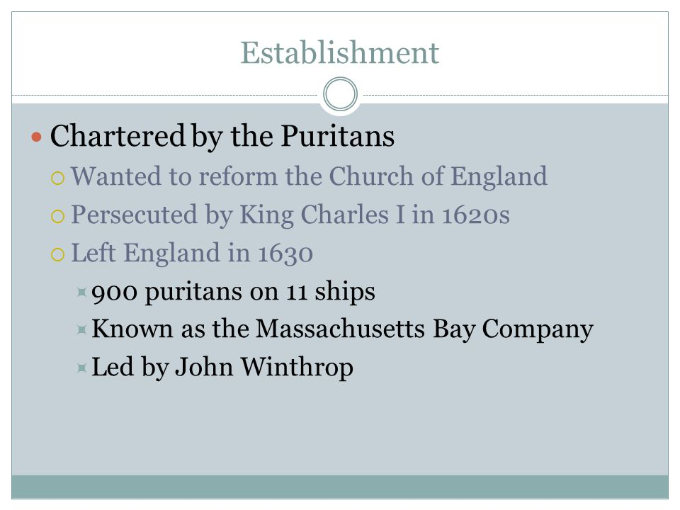 Establishment Chartered by the Puritans