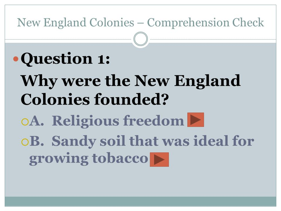 New England Colonies – Comprehension Check