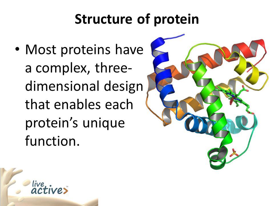 Structure of protein Most proteins have a complex, three-dimensional design that enables each protein's unique function.