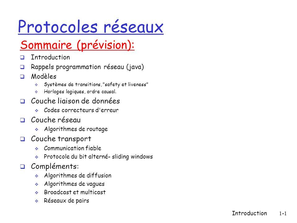 Protocoles réseaux Sommaire (prévision): Couche liaison de données