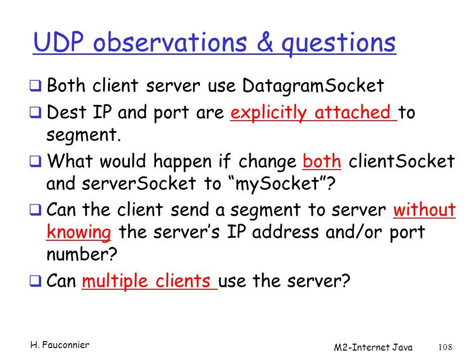 UDP observations & questions
