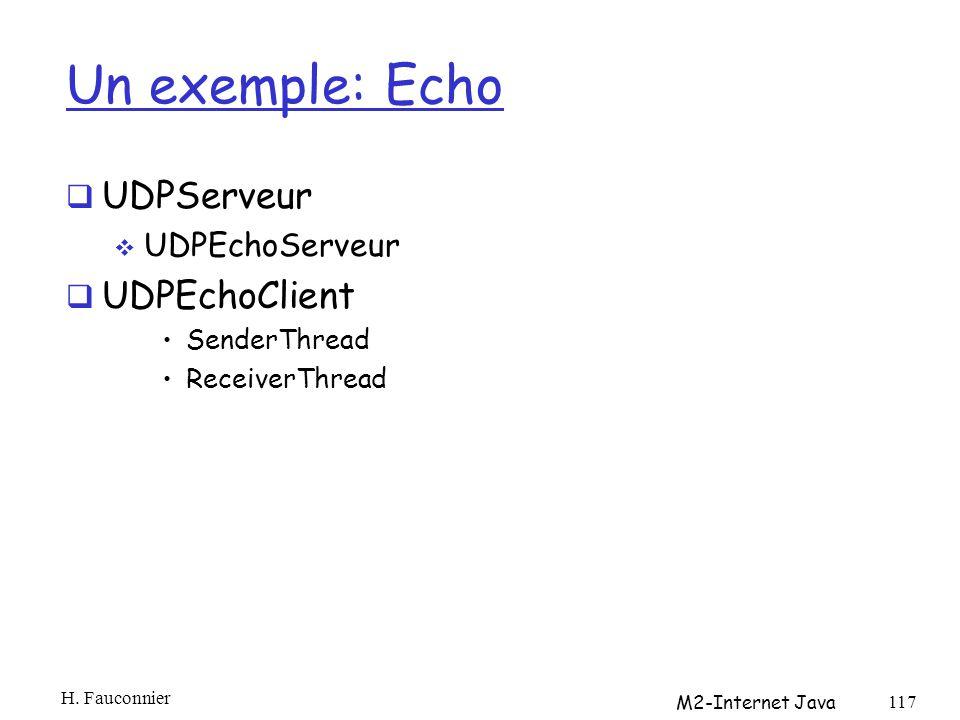 Un exemple: Echo UDPServeur UDPEchoClient UDPEchoServeur SenderThread