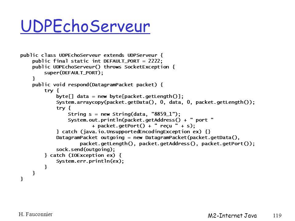 UDPEchoServeur H. Fauconnier M2-Internet Java