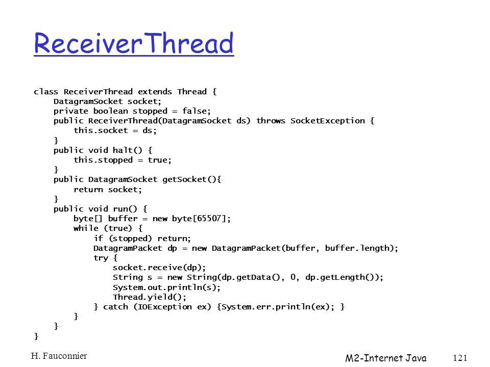 ReceiverThread H. Fauconnier M2-Internet Java