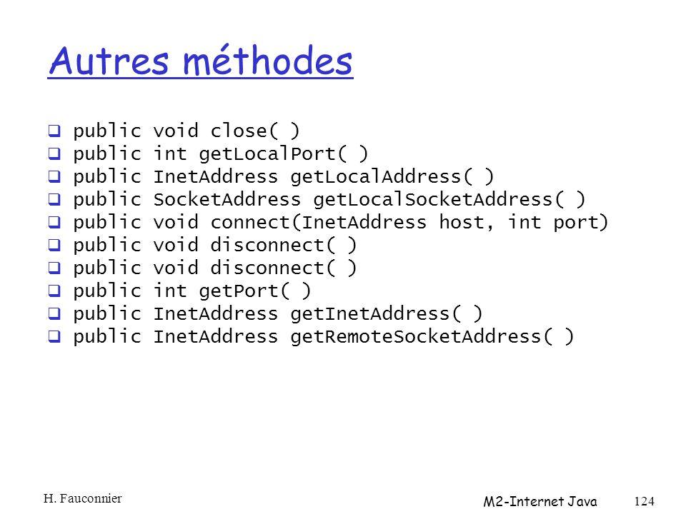 Autres méthodes public void close( ) public int getLocalPort( )