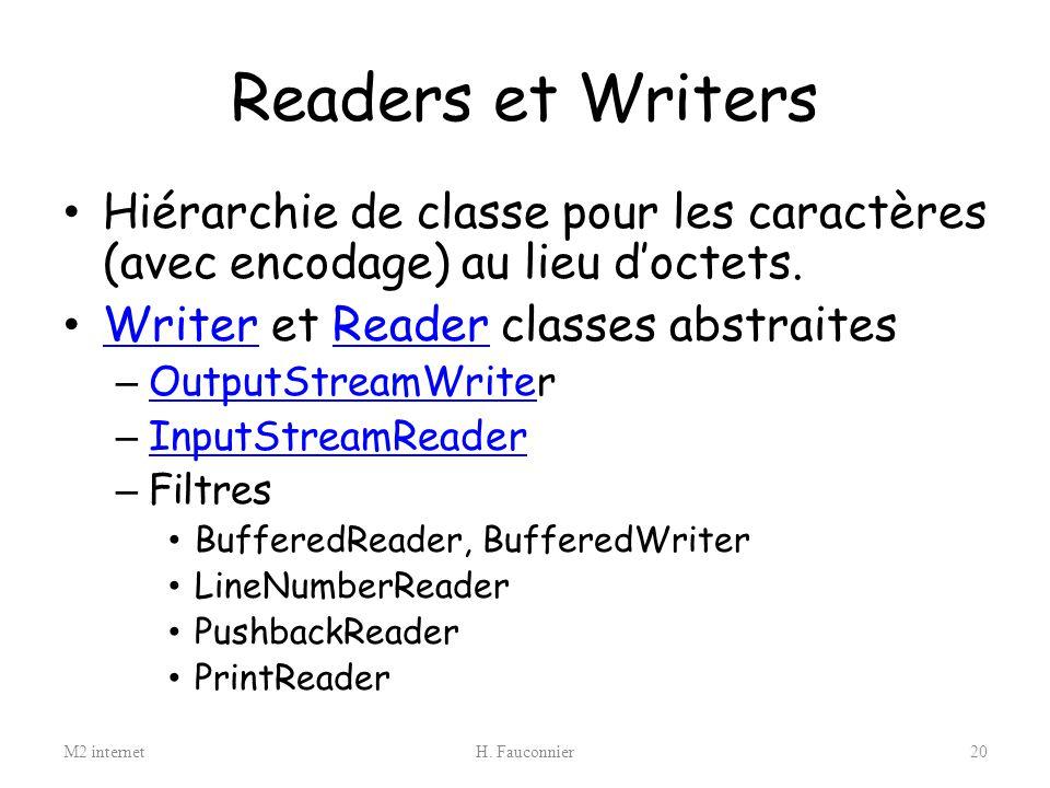 Readers et Writers Hiérarchie de classe pour les caractères (avec encodage) au lieu d'octets. Writer et Reader classes abstraites.